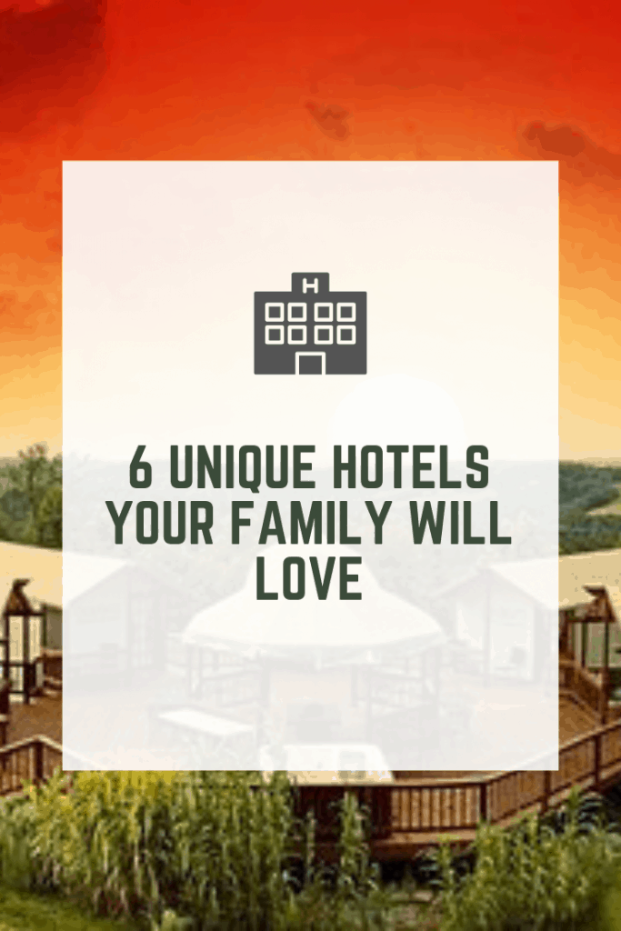 Tired of staying at the same old hotels when you travel? We have a list of 6 totally unique, totally cool hotels for you and your family to explore on your next road trip. #hotels #uniquehotels