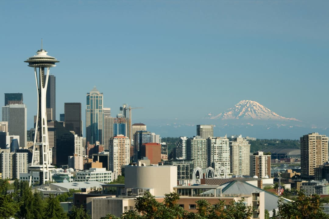 Downtown Seattle Space Needle and Mt. Rainier