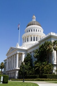 California state capitol building with dome located in Sacramento, CA.