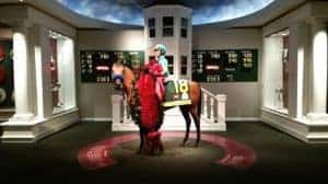 Horses and rider in the Winner's Circle at the Kentucky Derby Museum