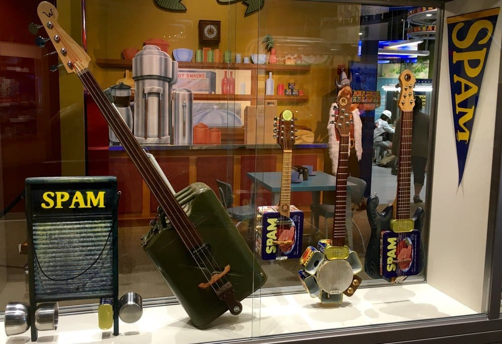 Musical instruments made from Spam cans. An exhibit in the Spam Museum in Austin, MN