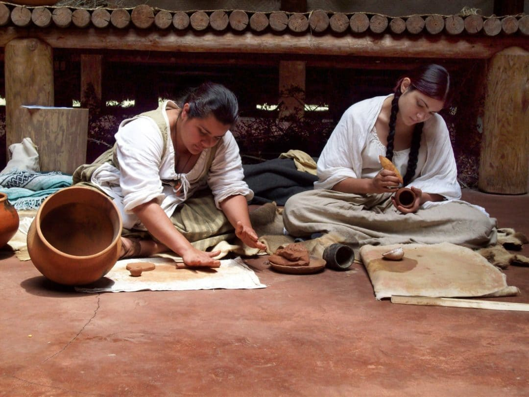 Pottery making demonstration at Mission San Luis in Tallahassee, Florida
