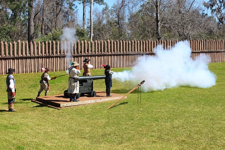 cannon fire at San Luis Mission in Tallahassee, Florida