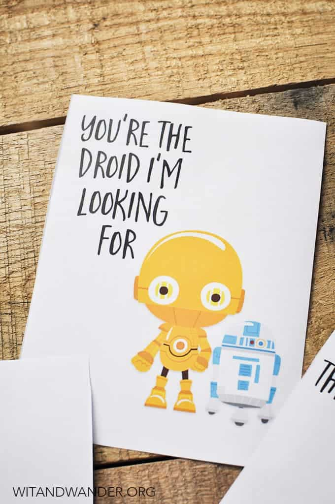 Star Wars Themed Printable Valentine's Day Cards from Wit and Wander