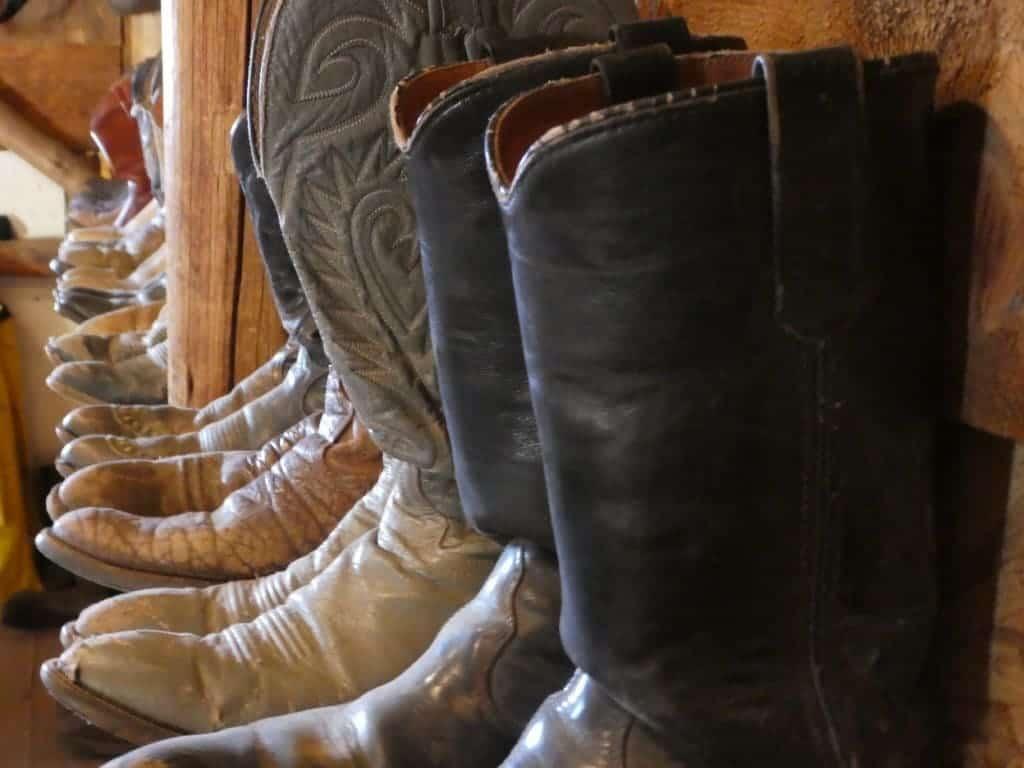 Boots in the tack room at Rawah Ranch