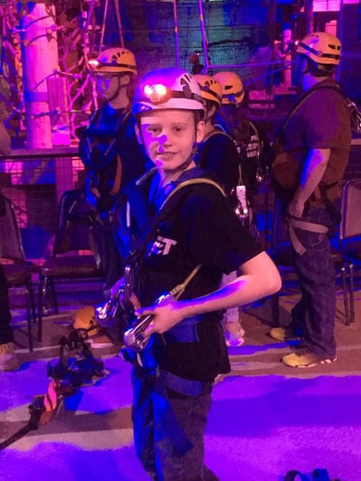 Gearing up for the Ropes course at Louisville Mega Cavern