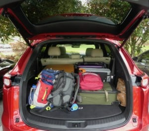 Rear trunk space loaded up in the Mazda CX-9