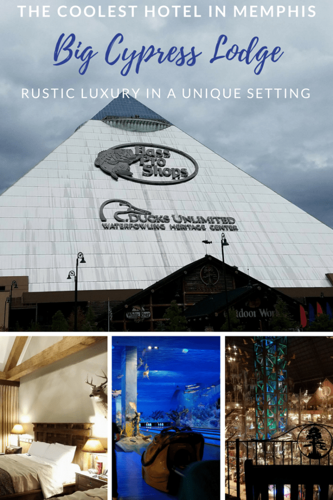 Stay in the coolest hotel in Memphis! The Big Cypress Lodge in Memphis is located in the Bass Pro Shop.