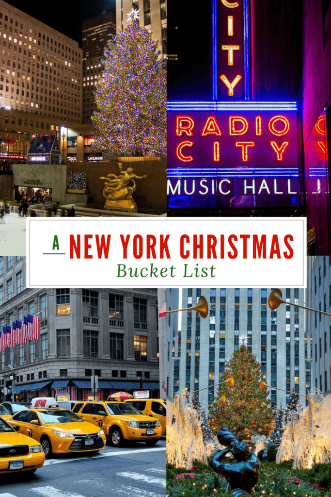 A New York Christmas Bucket List.  Headed to New York City for Christmas and want to take in all of the sights and sounds of this magical season? We've come up with a bucket list of the most iconic New York events in December. #NewyorkChristmas #Christmasevents #thingstodoinNewYorkinDecember