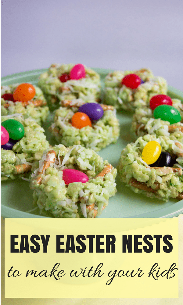 Easy Easter Nests Dessert Recipe to make with your kids! Made with rice krispies your kids will love helping you make these!