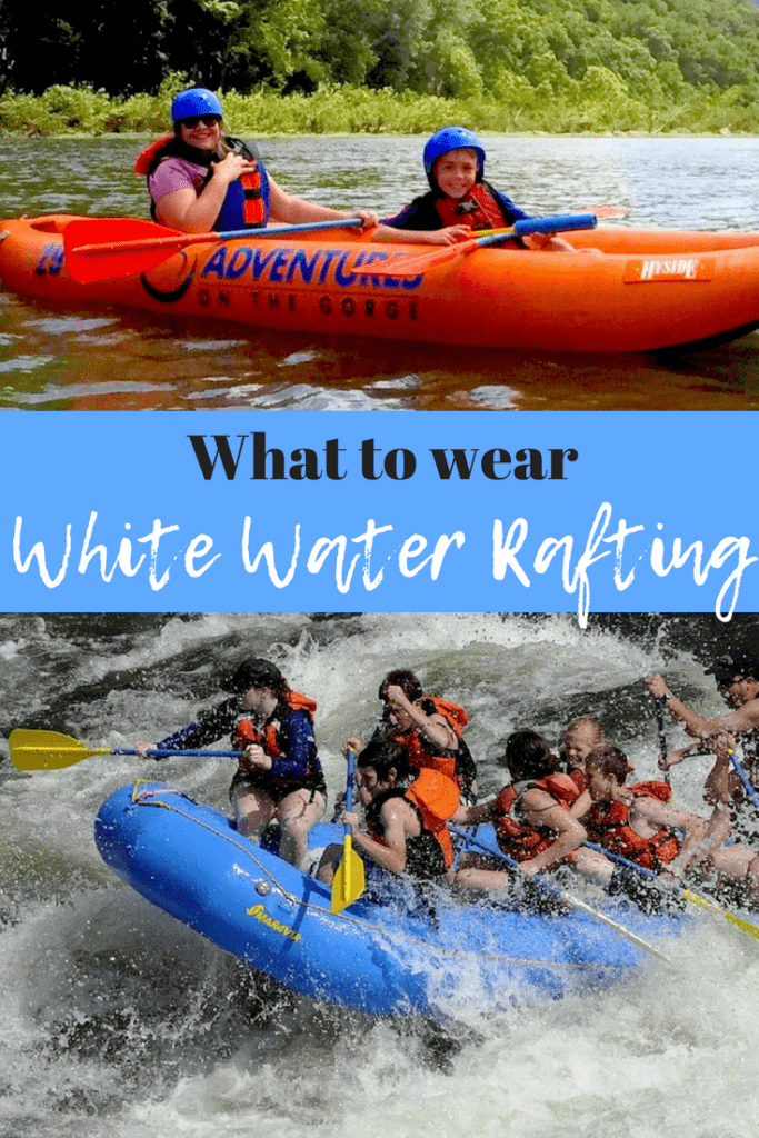 Wondering what you should wear white water rafting? We've got the scoop on the best things to wear white water rafting! #whitewaterrafting #adventure #familyvacation