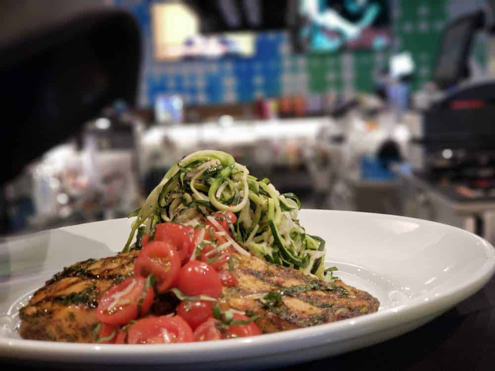 Salmon and Zoodles at Dave and Buster's