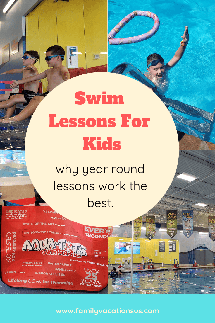 Wondering about swim lessons for your kids? Find out why we think that year round lessons are the most beneficial and how they have helped our family. #swimlessonsforkids #swimming