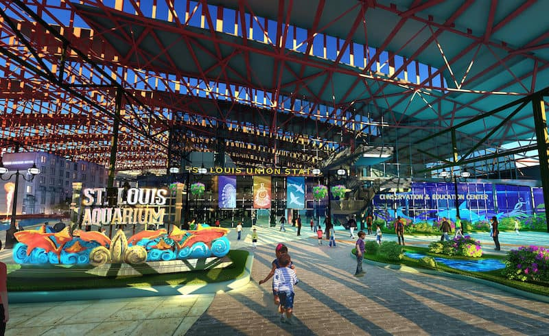 Rendering of the outside of the St. Louis Aquarium