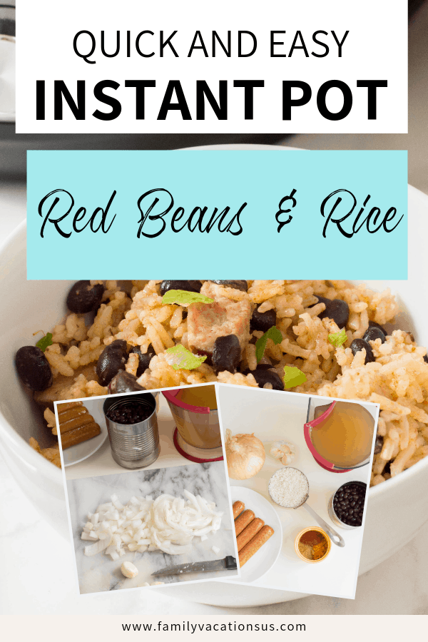 Looking for a delicious red beans and rice recipe with sausage? Here's an easy school night meal that will please everyone in your family. Made in your instant pot.  #instantpotrecipe #schoolnightdinner #easydinner #redbeansandrice #instantpotredbeansandrice #redbeansandricewithsausage