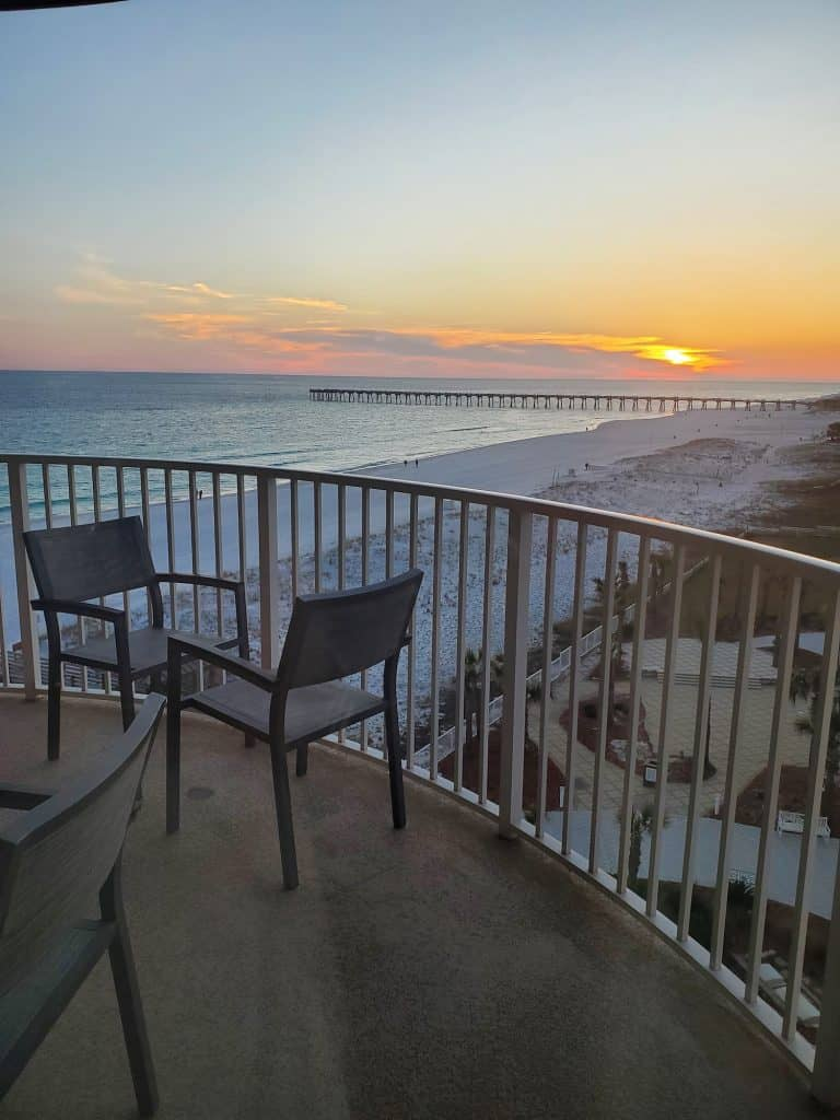 Balcony overlooking the ocean from a junior suit at the Hilton Pensacola Beach